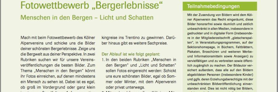 Ausschreibung: Fotowettbewerb der DAV Sektion Rheinland Köln